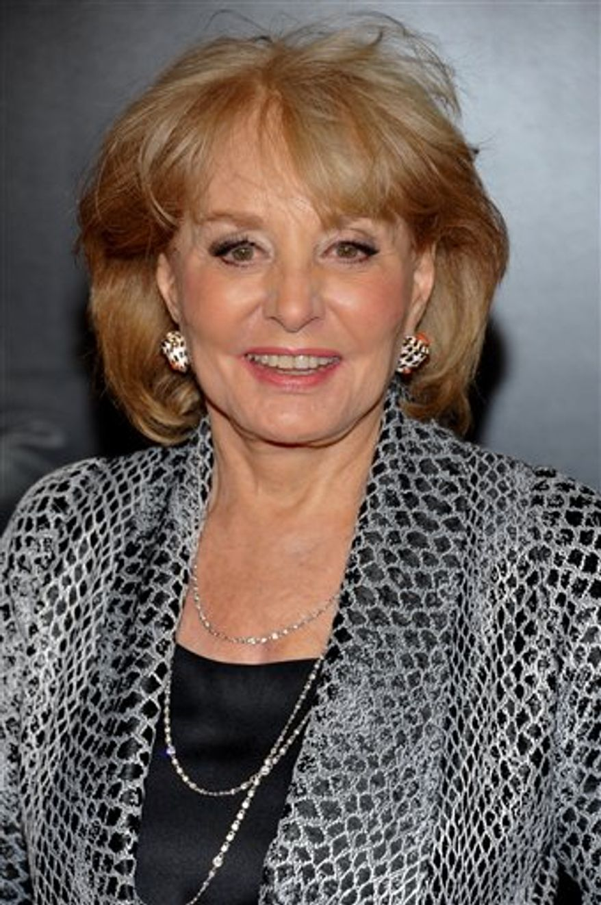 FILE - In a Sept. 20, 2010 file photo, Barbara Walters attends the premiere of 'Wall Street: Money Never Sleeps' at the Ziegfeld Theatre in New York. ABC's Barbara Walters will interview President Barack Obama and first lady Michelle Obama at the White House for a network special to air the day after Thanksgiving. ABC said Tuesday, Nov. 16, 2010 that the interview will be conducted at the White House on the Tuesday before Thanksgiving and air Friday at 10 p.m.  (AP Photo/Evan Agostini, File)