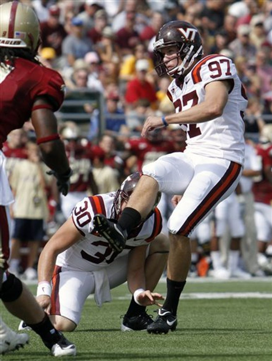 FILE - In this Saturday Sept 25, 2010, file photo, Virginia Tech's Chris Hazley (97) watches his field goal in the first half of an NCAA college football game against Boston College in Boston. Virginia Tech won 19-0.  Hazley has made 17 consecutive field goals.  (AP Photo/Michael Dwyer, File)