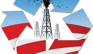 Illustration: Oil drilling by Linas Garsys for The Washington Times