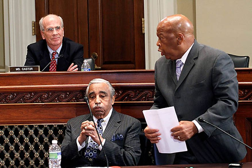 Rep. Peter Welch, D-Vt., listens as left, as Rep. John Lewis, D-Ga., right, speaks on behalf of Rep. Charles Rangel, D-N.Y., center, Thursday, Nov. 18, 2010, on Capitol Hill in Washington, during the House Ethics Committee hearing. (AP Photo/Harry Hamburg)