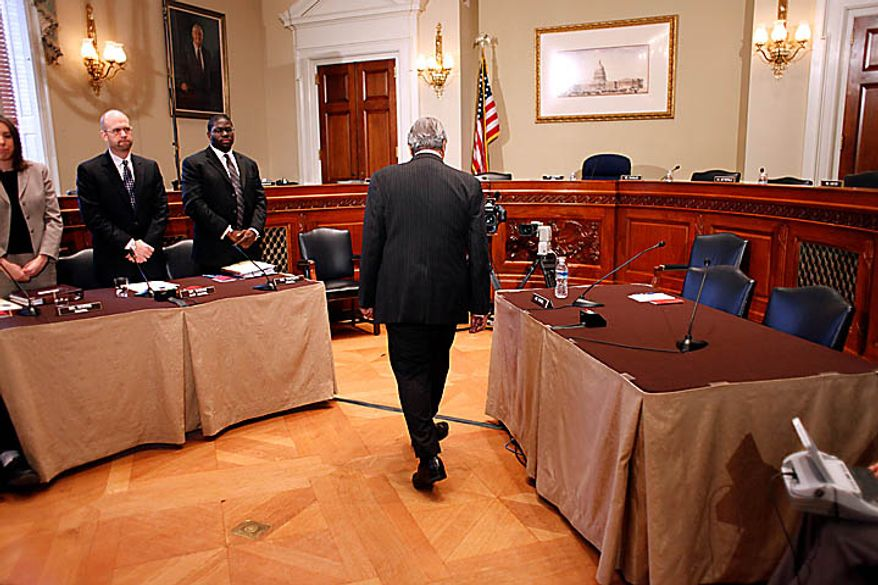 Rep. Charles Rangel, D-N.Y., arrives to appear before the House Ethics Committee, on Capitol Hill in Washington, Thursday, Nov. 18, 2010. (AP Photo/Harry Hamburg)