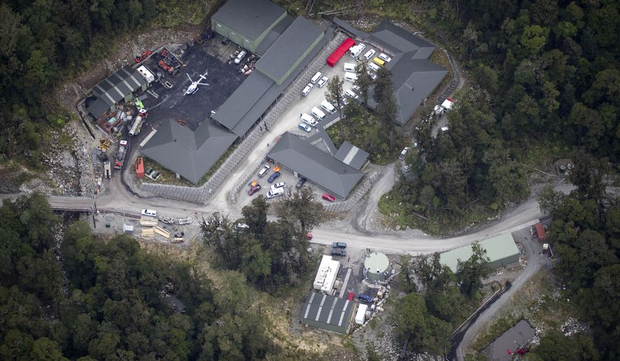 An aerial view shows the Pike River Coal mine near Atarau, the site of an underground explosion, Friday, Nov. 19, 2010, while at least 27 people were underground. Five workers, dazed and slightly injured, stumbled to the surface, while more than two dozen are missing. (AP Photo/New Zealand Herald, Stewart Nimmo)