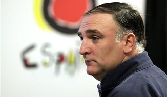 In this Oct. 13, 2010, file photo, Spanish chef Jose Andres takes part in a news conference in New York. (AP Photo/Richard Drew, File)