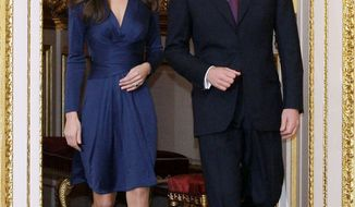 ASSOCIATED PRESS Britain's Prince William and his fiancee, Kate Middleton, arrive at St. James' Palace in London on Tuesday after they announced their engagement. The couple are to wed in 2011.