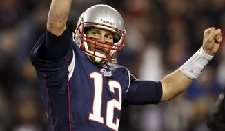 ASSOCIATED PRESS New England Patriots quarterback Tom Brady celebrates a touchdown against the Indianapolis Colts during the second quarter of an NFL football game in Foxborough, Mass., Sunday, Nov. 21, 2010.
