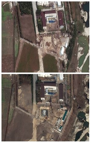 ** FILE ** This photo combination of two satellite images made available by DigitalGlobe shows the Yongbyon nuclear complex in Yongbyon, North Korea, in an image taken on Sept. 29, 2010. The Washington-based Institute for Science and International Security said the image shows heavy construction and excavation equipment at the site and the construction of two small buildings. It estimated that North Korea was constructing a 25- to 30-megawatt light-water reactor. (AP Photo/DigitalGlobe)