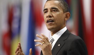 President Obama gives a media briefing at the end of a NATO summit in Lisbon on Saturday. (Associated Press)