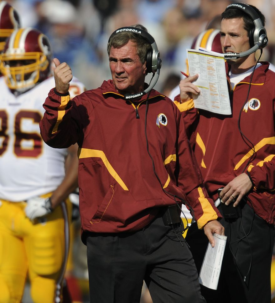 ASSOCIATED PRESS Washington Redskins head coach Mike Shanahan walks the sideline in the second quarter of an NFL football game against the Tennessee Titans on Sunday, Nov. 21, 2010, in Nashville, Tenn.