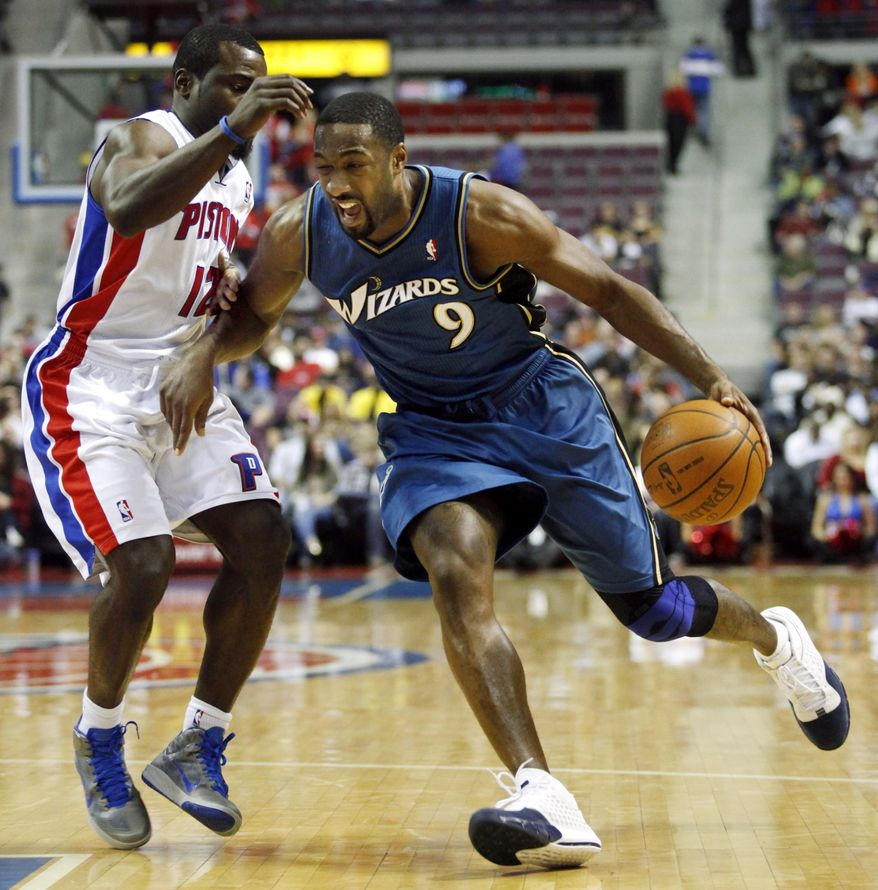 ASSOCIATED PRESS Washington Wizards' Gilbert Arenas (9) drives against Detroit Pistons' Will Bynum (12) in the first half of an NBA basketball game Sunday, Nov. 21, 2010, in Auburn Hills, Mich.