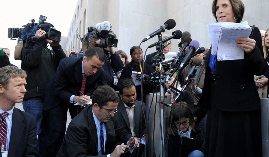 JUSTICE: Susan Levy, mother of intern Chandra Levy, addresses the media outside D.C. Superior Court, where Ingmar Guandique was convicted Monday of attempting to rob and kidnap Levy before killing her on May 1, 2001. (Associated Press)