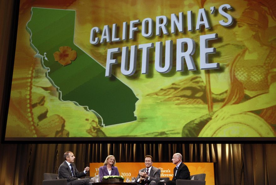 **FILE** From left: Matt Lauer, California gubernatorial candidate Republican Meg Whitman, Calif. Gov. Arnold Schwarzenegger, and California gubernatorial candidate Democrat Jerry Brown are seen on stage Oct. 26 at the annual Women's Conference in Long Beach, Calif. (Associated Press)