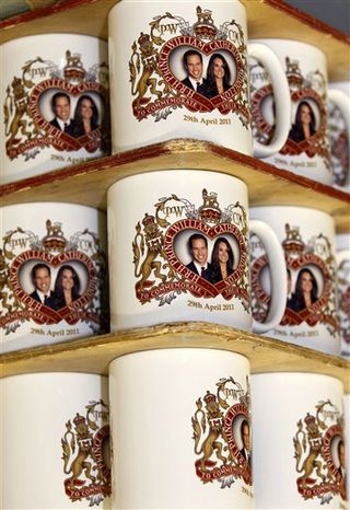 Mugs commemorating the forthcoming marriage of Britain's Prince William to Kate Middleton, are stacked at the Prince William Pottery Company in Liverpool, England, Wednesday Nov. 23, 2010. Prince William and Kate Middleton will marry April 29 in Westminster Abbey, the historic London church where Princess Diana's funeral was held. Royal officials said Tuesday that the couple chose the venue for its beauty, intimacy and historic royal connections, and the date because they wanted a spring wedding. (AP Photo/Tim Hales)