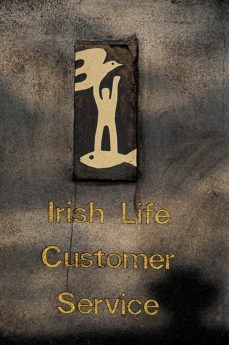 The company logo for Irish Life & Permanent Plc. is seen on their headquarters in Dublin, Ireland, on Tuesday, Nov. 22, 2010. Irish banks may get immediate capital injections as part of the European Union and International Monetary Fund's rescue package, Matthew Elderfield, the country's head of financial regulation, said in a speech yesterday. Photographer: Aidan Crawley/Bloomberg