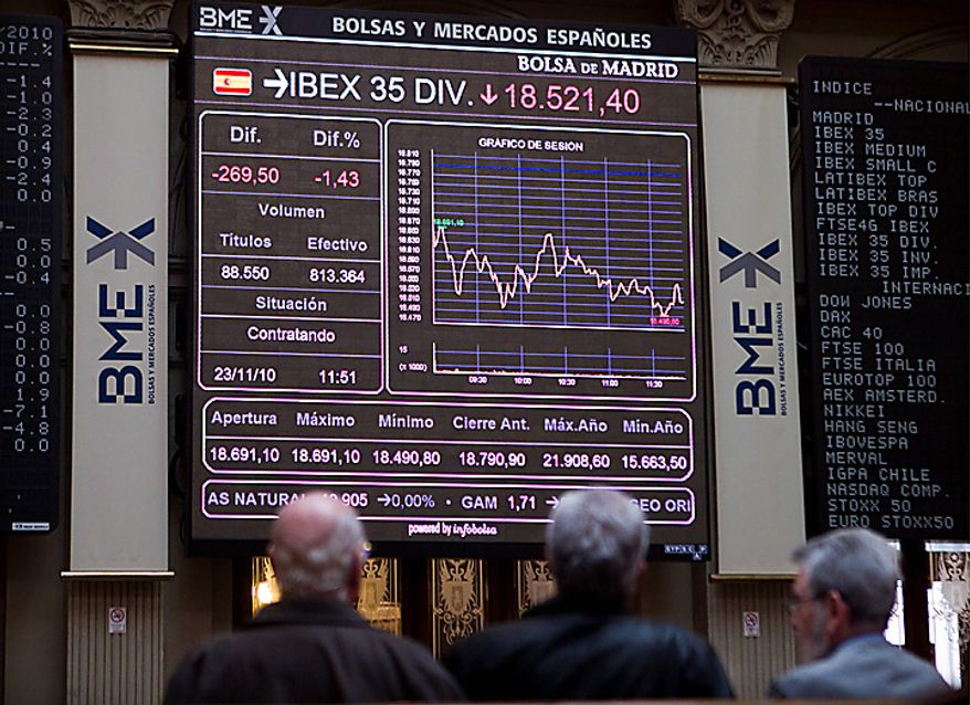 Brokers look at the main screen at the Stock Exchange in Madrid Tuesday Nov. 23, 2010. Spain's borrowing costs have soared in a sale of 3- and 6-month bills amid fears the country could be affected by contagion from Ireland's debt crisis.The central bank says the treasury was obliged to pay 1.7 percent in average interest to sell euro2.1 billion ($2.87 billion) in 3-month bills, nearly double the 0.95 percent rate paid in the last such auction Oct. 26. The auction Tuesday came as Madrid's Ibex 35 bourse dipped for the second day in a row amid concerns over Spain's ability to handle its debt in the wake of European Union's bailout of Ireland. Spain's economy is struggling to emerge from nearly two years of recession.  (AP Photo/Paul White)