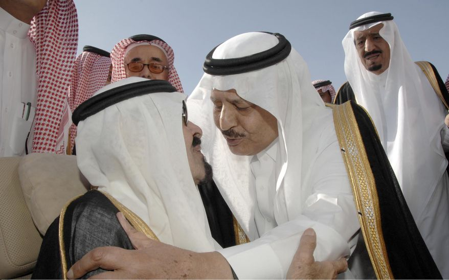 This photo released by the Saudi Press Agency, shows Saudi King Abdullah bin Abd al-Aziz, left, bidding farewell to Saudi Interior Minister Prince Nayef bin Abdul Aziz al-Saud, center, as Prince Salman bin Abdel Aziz, the Saudi King's brother and Riyadh Governor, right, looks on before his departures to United States in Riyadh, Saudi Arabia, Monday, Nov. 22, 2010. King Abdullah flew on Monday to the United States for medical treatment, seeking treatment after a blood clot complicated a slipped spinal disc, the state news agency SPA said. (AP Photo/HO)