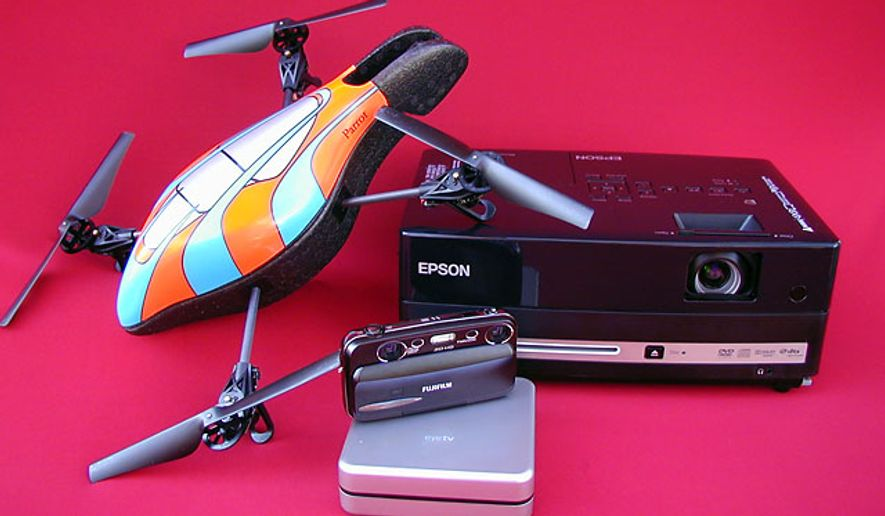 Top gifts in electronics include Parrot's AR.Drone, Elagato System's EyeTV HD, Epson's MovieMate 85HD and Fuji's FinePix Real 3D W3.