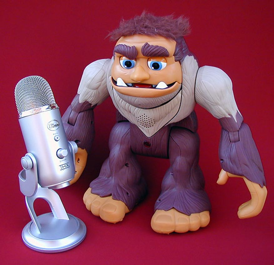 Fisher-Price's Bigfoot meets Blue Microphone's Yeti. (Photograph by Joseph Szadkowski)