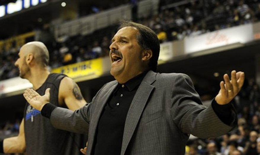Orlando Magic coach Stan Van Gundy disputes a call in second-half NBA basketball game action against the Indiana Pacers at Conseco Fieldhouse in Indianapolis on Saturday, Nov. 20, 2010. Orlando won 90-86. (AP Photo/Tom Strickland)