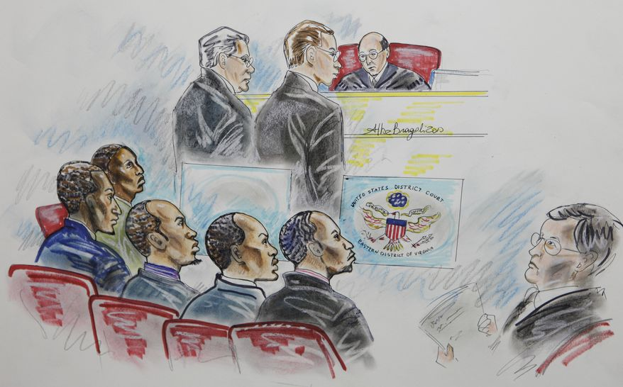 From left: In this courtroom sketch, suspected Somali pirates Mohammed Modin Hasan, Abdi Mohammed Gurewardher, Abdi Mohammed Umar, Gabul Abdullahi Ali and Abdi Wali Dire listen during jury selection on Nov. 10 at the federal courthouse in Norfolk, Va. The five men were convicted Wednesday of attacking a U.S. Navy ship off Africa's coast. (Associated Press)