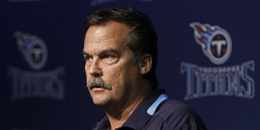 Tennessee Titans head coach Jeff Fisher answers questions at a news conference on Monday, Nov. 22, 2010, in Nashville, Tenn. Titans quarterback Vince Young left the stadium after exchanging words with Fisher after a 19-16 overtime loss to the Washington Redskins on Sunday in which Young tore a flexor tendon in his right thumb on his throwing hand. Fisher said Young will be placed on injured reserve and needs surgery on his hand. (AP Photo/Mark Humphrey)