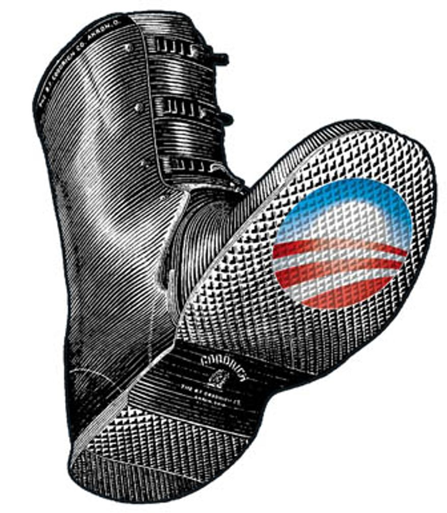 Illustration Obama boot by Greg Groesch for The Washington Times