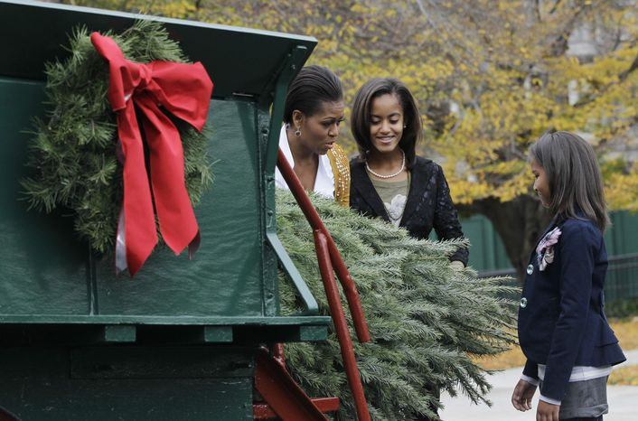First lady Michelle Obama stands with daughters Malia and Sasha as she receives the official White House Christmas tree, a Douglas Fir from the Crystal Spring Tree Farm in Leighton, Pa., at the White House in Washington on Friday, Nov. 26, 2010. (AP Photo/Charles Dharapak)