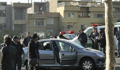 Iran's Fars News Agency claims that this photo shows one of the cars damaged in two bomb attacks on two nuclear scientists in Tehran on Monday, Nov. 29, 2010. Assailants on motorcycles attached bombs to the cars as the scientists were driving to work. One was killed and the other seriously wounded, Iranian state television reported. (AP Photo/Fars News Agency)