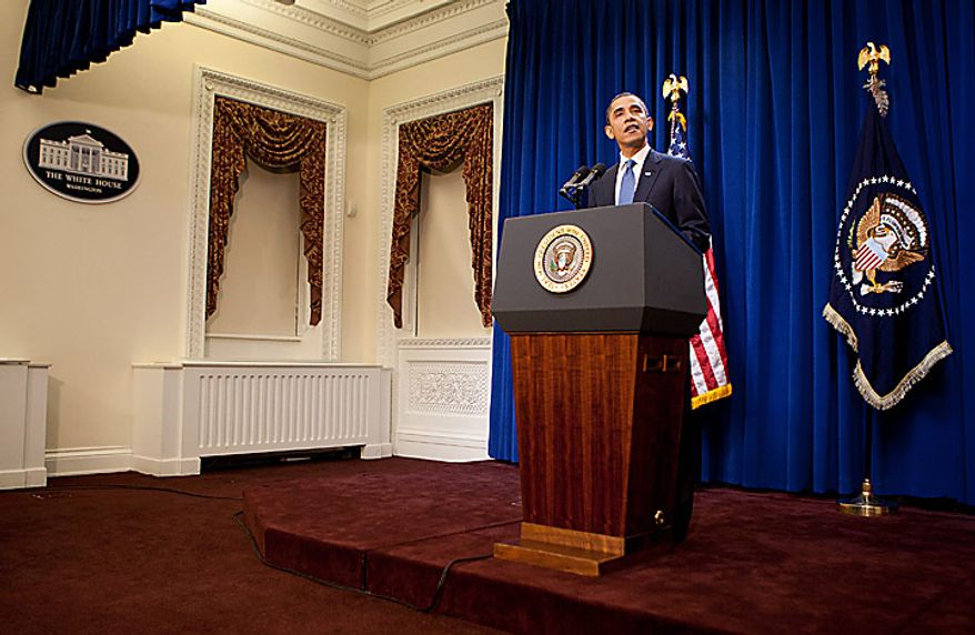U.S. President Barack Obama delivers a statement to the media at the Eisenhower Executive Office Building in Washington, D.C., U.S., on Monday, Nov. 29, 2010. Obama proposed freezing the pay of federal civilian employees this year and next as part of an effort to bring the budget deficit under control. Photographer: Andrew Harrer/Bloomberg