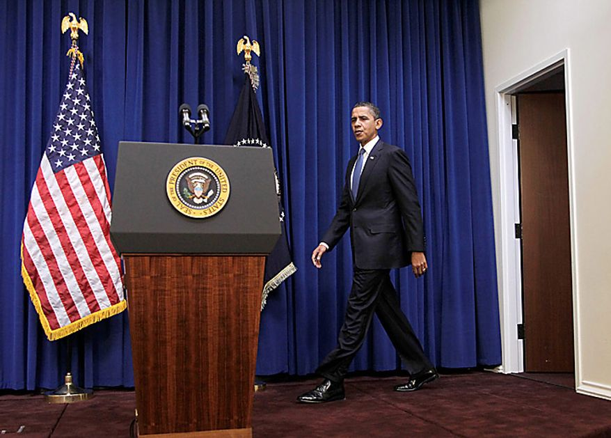 President Barack Obama arrives to deliver a statement in the in the Old Executive Office Building, on the White House campus in Washington, Monday, Nov. 29, 2010. (AP Photo/Pablo Martinez Monsivais)