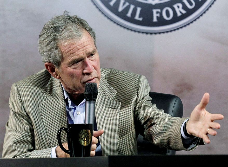 ASSOCIATED PRESS Former President George W. Bush speaks during a forum on leadership and service in Lake Forest, Calif. He touched on a range of topics during a webcast Monday with Facebook founder Mark Zuckerberg.