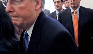 ASSOCIATED PRESS From left, Senate Minority Leader Mitch McConnell, House Minority Whip Eric Cantor and House Minority Leader John A. Boehner leave a news conference on Capitol Hill on Tuesday. They talked about their meeting at the White House with President Obama.
