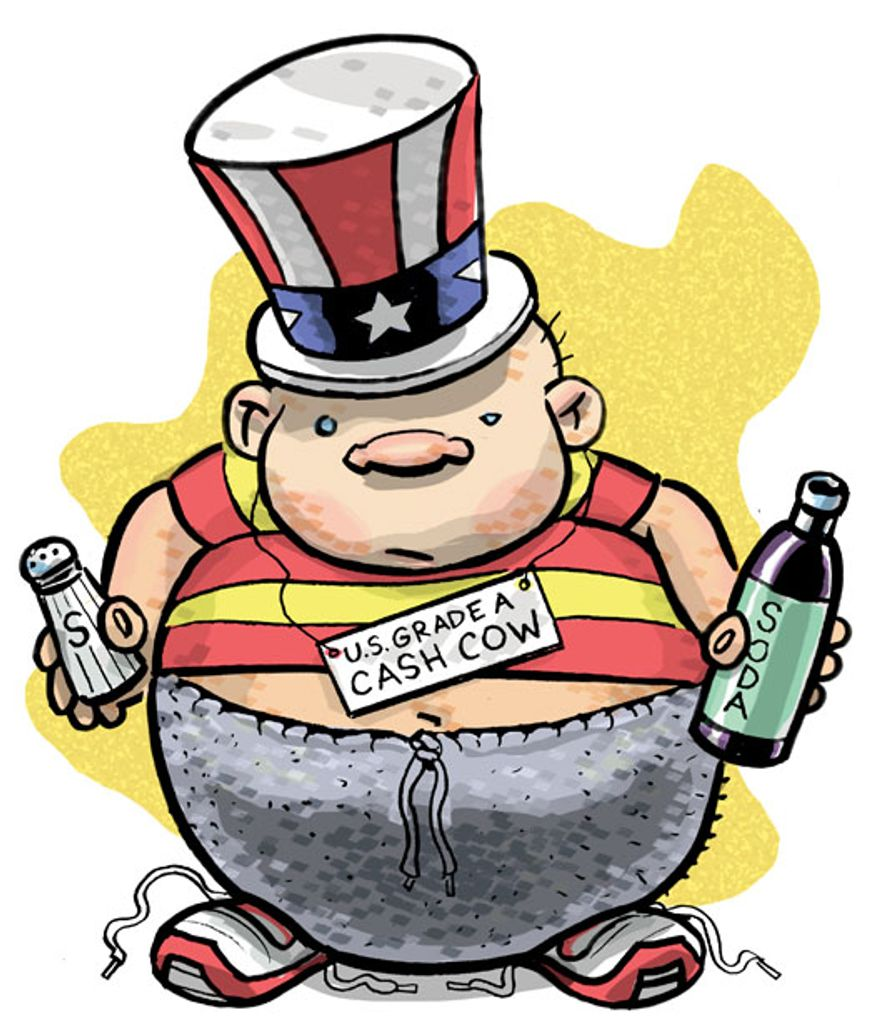 Illustration: Fat by Alexander Hunter for The Washington Times