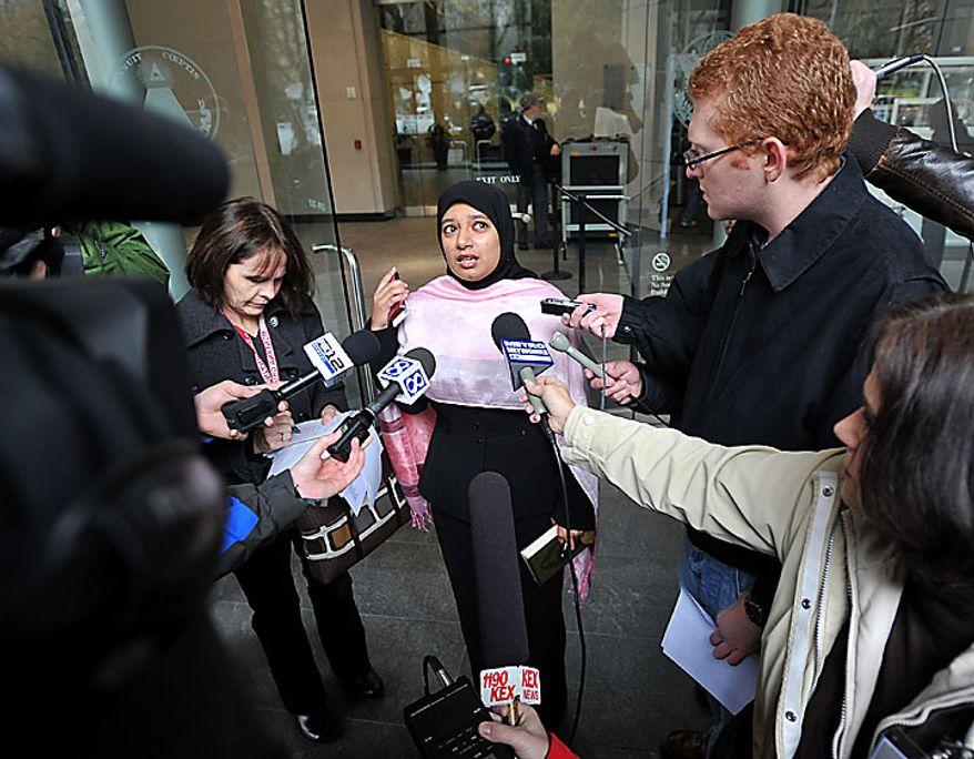 Saba Ahmed, whose brother is a friend of the defendant, speaks to reporters following an appearance in federal court by terror suspect Mohamed Osman Mohamud on Monday, Nov. 29, 2010, in Portland, Ore. Authorities say Mohamud and an FBI operative parked a van full of dummy explosives on Southwest Yamhill Street across from Pioneer Courthouse Square just after sundown Friday while thousands gathered in the square for the annual tree lighting. Mohamud is accused of attempting to detonate the explosives. (AP Photo/Steve Dykes)