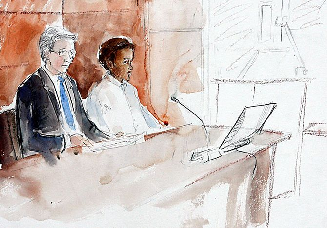 This courtroom artist's sketch shows terror suspect Mohamed Osman Mohamud, right, and chief deputy public defender Stephen R. Sady, during an appearance in federal court Monday, Nov. 29, 2010, in Portland, Ore. Authorities say Mohamud and an FBI operative parked a van full of dummy explosives on Southwest Yamhill Street across from Pioneer Courthouse Square just after sundown Friday while thousands gathered in the square for the annual tree lighting. Mohamud is accused of attempting to detonate the explosives. (AP Photo/Abigail Marble)