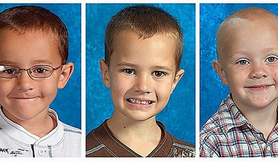 This combo made with undated photos provided by The National Center for Missing & Exploited Children shows, from left, Alexander Skelton, 7 Andrew Skelton, 9, and Tanner Skelton. 5. An Amber Alert has been issued for three boys, who haven't been seen since Thursday when they were in their father's yard. John Skelton told police that he gave the boys to a female friend before attempting suicide, but authorities say they don't believe him. (AP Photo/National Center for Missing & Exploited Children)