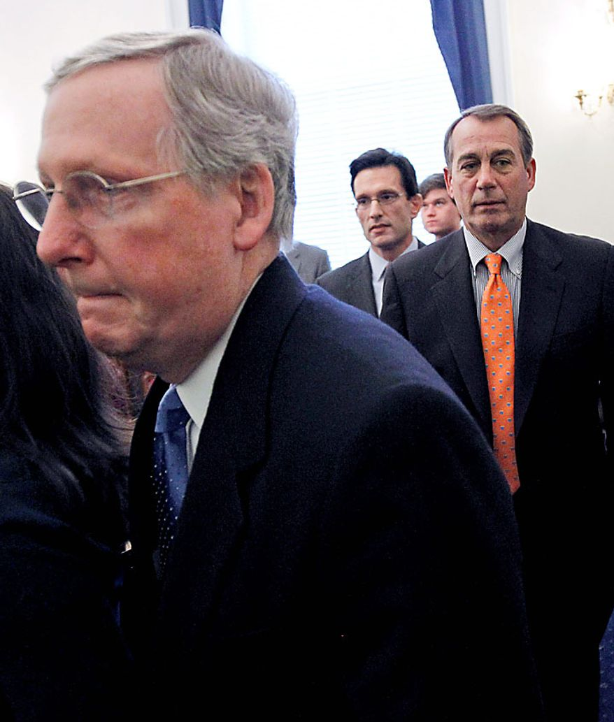 From left, Senate Republican Leader Mitch McConnell of Ky., House Majority Leader-elect Eric Cantor of Va., and House Speaker-designate John Boehner of Ohio,  leave a news conference, on Capitol Hill in Washington Tuesday, Nov. 30, 2010, where they talked about their meeting at the White House with President Obama. (AP Photo/Alex Brandon)
