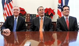 From left, Senate Republican Leader Mitch McConnell of Ky., House Speaker-designate John Boehner of Ohio, and House Majority Leader-elect Eric Cantor of Va., take part in a news conference, on Capitol Hill in Washington Tuesday, Nov. 30, 2010, following their meeting at the White House with President Obama. (AP Photo/Alex Brandon)