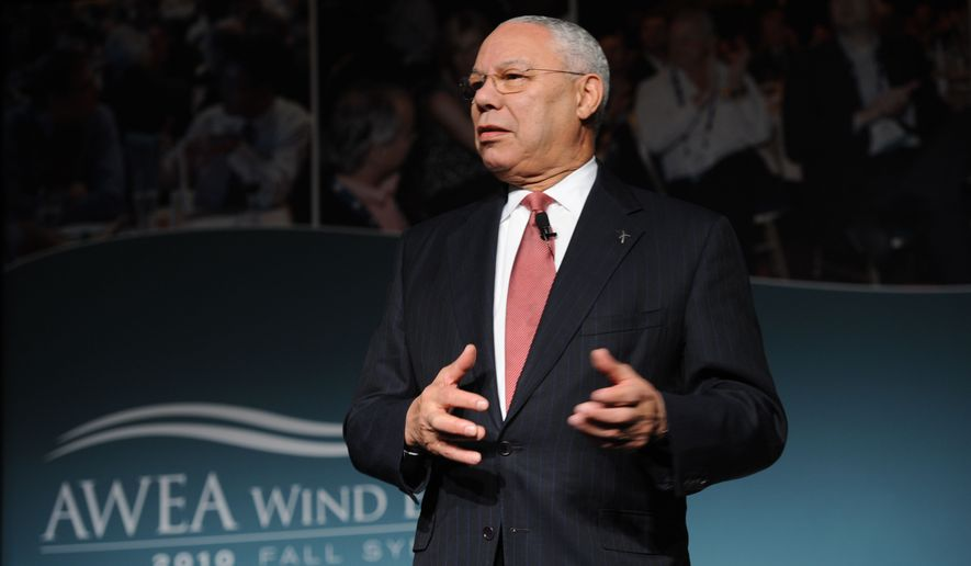 ** FILE ** Former Secretary of State Colin Powell addresses participants at the AWEA Wind Energy Fall Symposium in Phoenix on Friday, Nov. 19, 2010. (AP Photo/peterjordanphoto.com)