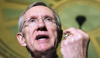** FILE ** Senate Majority Leader Harry Reid, Nevada Democrat, gestures during a news conference on Capitol Hill in Washington on Tuesday, Nov. 30, 2010. (AP Photo/Manuel Balce Ceneta)