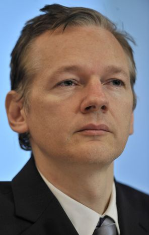 ** FILE ** In this Oct. 23, 2010, file photo, WikiLeaks founder Julian Assange speaks during a news conference in London. (AP Photo/Lennart Preiss, File)