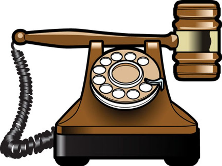 Illustration: Dial a lawyer by Linas Garsys for The Washington Times