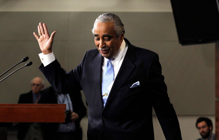 Rep. Charles B. Rangel, New York Democrat, waves as he leaves after speaking to the media in the Capitol after being censured by the House on Thursday. The vote was 333-79 for censure, which carries a stigma, though no other official loss of privileges. (AP Photo)