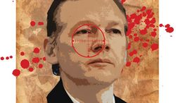 Illustration: Assange Wanted by Greg Groesch for The Washington Times