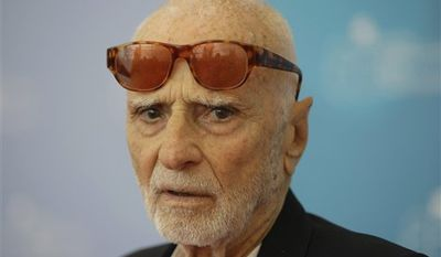 FILE - In this file photo taken on Aug. 31, 2008, Italian director Mario Monicelli poses at the 65th edition of the Venice Film Festival in Venice. Oscar-nominated director Monicelli  died in Rome Monday, Nov. 29, 2010, after jumping from a fifth-story hospital window. He was 95. (AP Photo/Andrew Medichini, file)