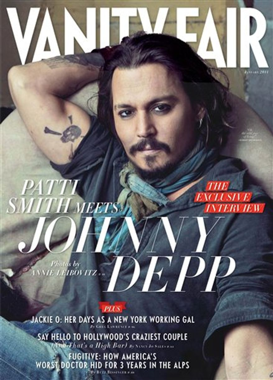 """In this magazine cover image released by Vanity Fair, actor Johnny Depp is shown on the cover of the January 2011 issue of """"Vanity Fair."""" (AP Photo/Vanity Fair)"""
