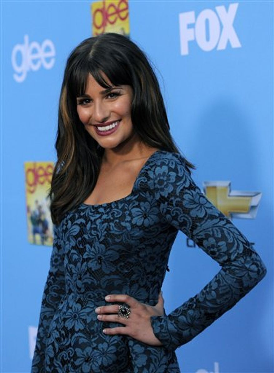 """FILE - In this Sept. 7, 2010 file photo, actress Lea Michele, a cast member in """"Glee,"""" arrives at the television show's second season premiere in Los Angeles. (AP Photo/Chris Pizzello, file)"""