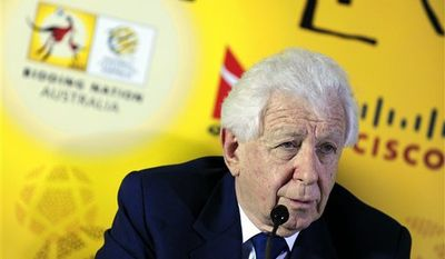 Frank Lowy, Australian FFA Chairman, speaks during a media conference for the Australian Bid Committee for the FIFA 2022 World Cup in Zurich, Switzerland, Tuesday, Nov. 30, 2010. (AP Photo/Keystone/Walter Bieri)