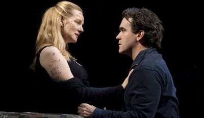 """In this theater publicity image released by Boneau/Bryan-Brown, Laura Linney, left, and Brian d'Arcy James are shown in a scene from the Manhattan Theatre Club production of Donald Margulies' """"Time Stands Still,"""" playing at Broadway's Samuel J. Friedman Theatre in New York. (AP Photo/Boneau/Bryan-Brown, Joan Marcus)"""