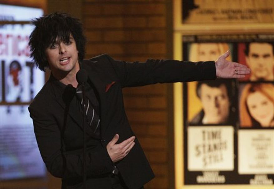FILE - In this June 13, 2010 photo, Billie Joe Armstrong of the rock band Green Day appears onstage at the 61st Annual Tony Awards in New York. (AP Photo/Richard Drew, File)
