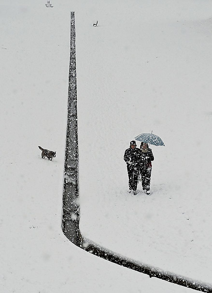 A couple walking with their dog at Vuelta Castillo Park as snow covers the field in Pamplona northern Spain, Friday Dec. 3, 2010. A polar wind is crossing the country as many parts of Spain registered freezing temperatures and snow storms. (AP Photo/Alvaro Barrientos)